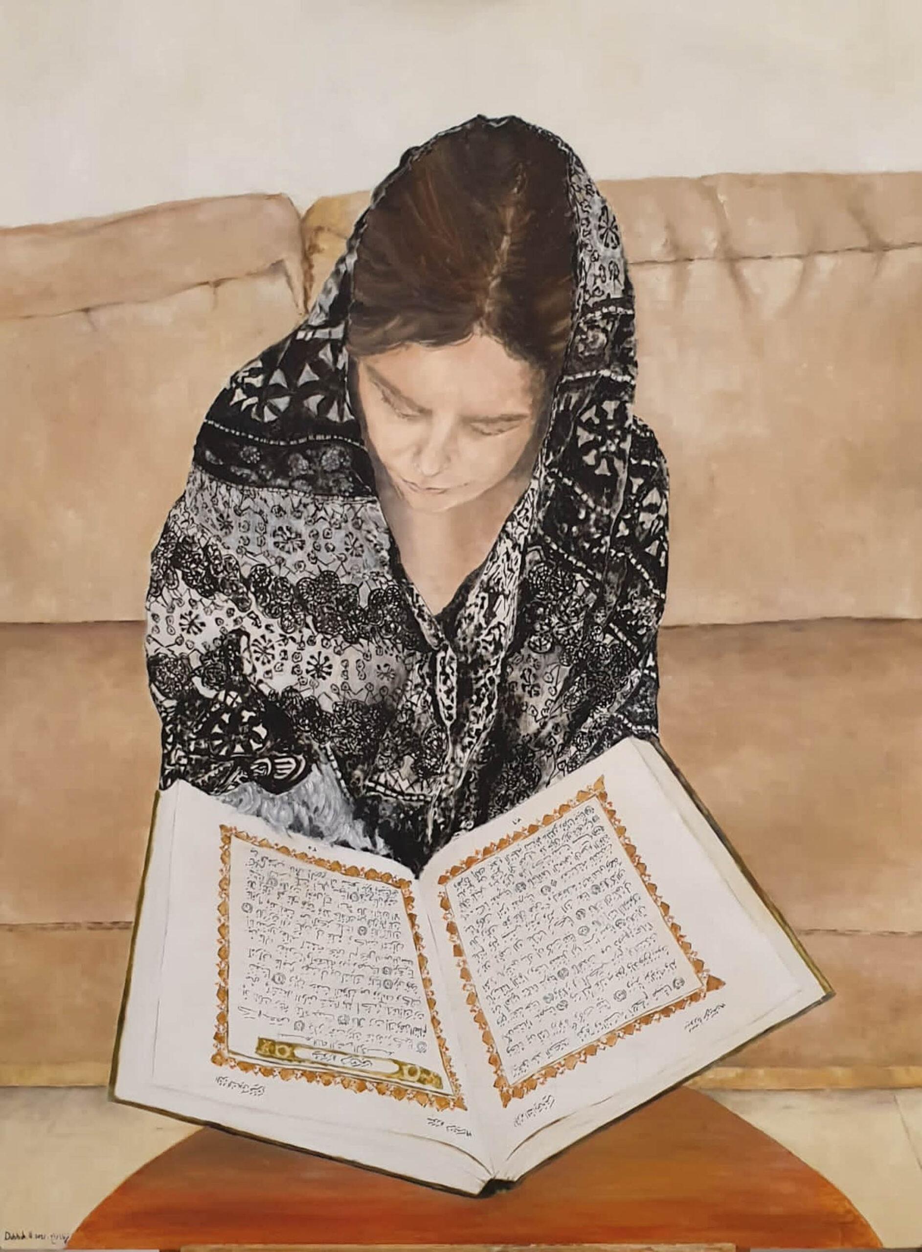 עותק-של-Nirvana-Dabbah-Prayer-2021-Work-in-Process-Oil-on-canvas-90-x-70-cm