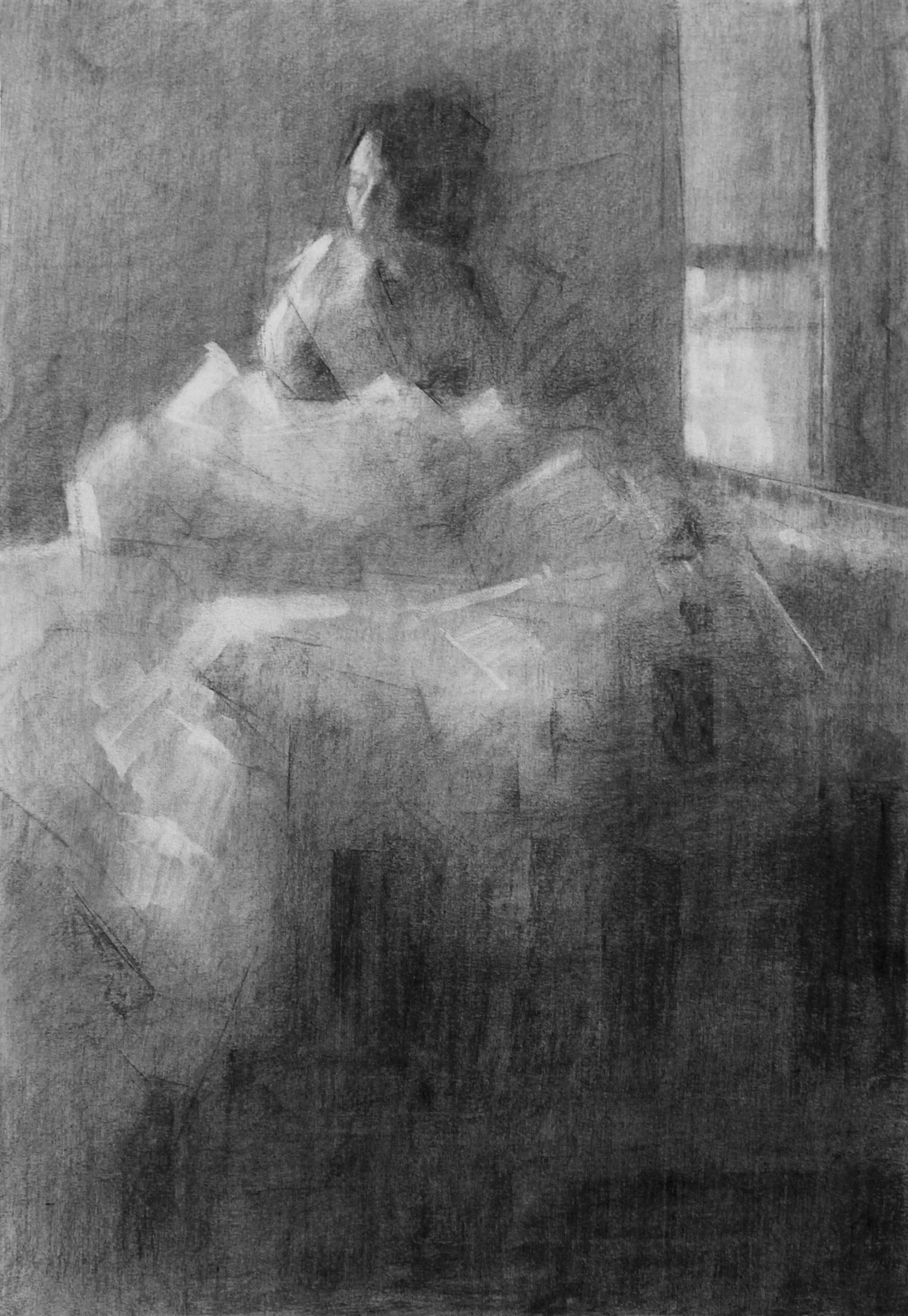עותק-של-Tigist-Ron-Yoseph-HOME-Noa-2021-Charcoal-on-paper-70×50-cm