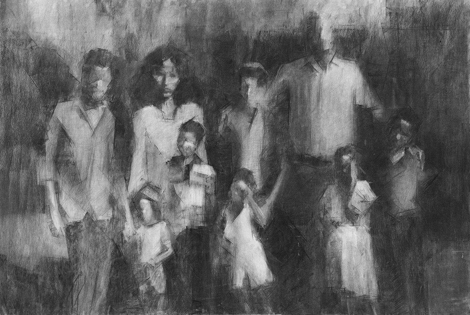 Atlit-2019-Charcoal-on-paper-118×80-cm